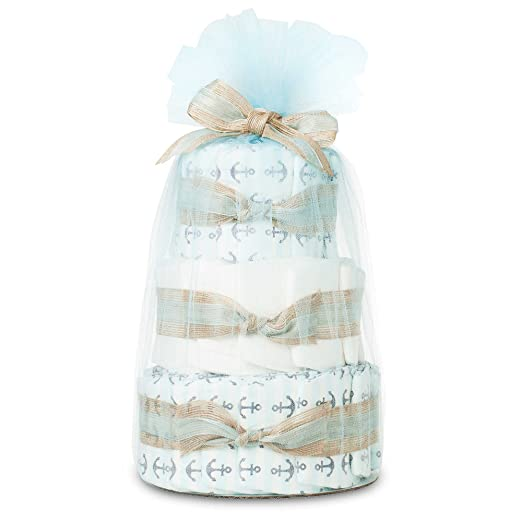 Hypoallergenic, Extra Soft, Non-Toxic, Eco-Friendly, Mini Diaper Cake In Anchors And Stripes