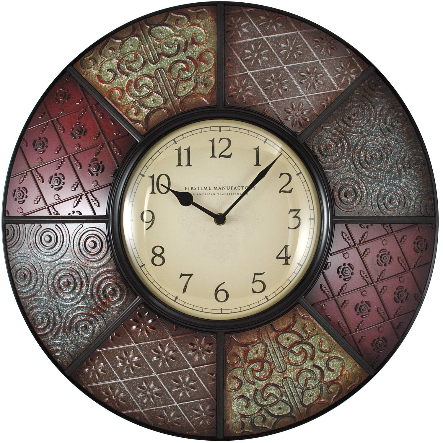 FirsTime Co. 25635 Firstime Patchwork Wall Clock, 20.5 , Multicolor
