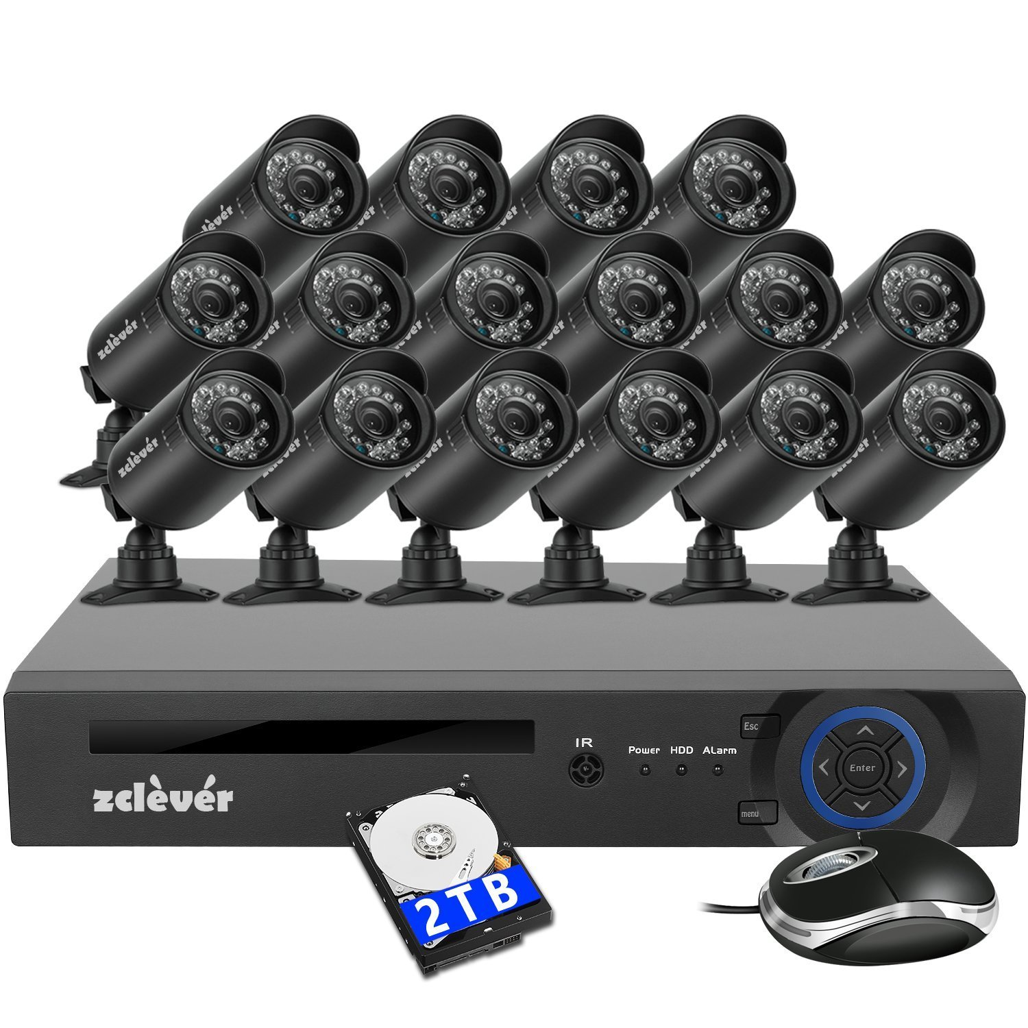 Zclever 16 Channel 1080N HD 1200TVL Security Cameras System with 16 Cameras 2TB Hard Drive Included by Zclever