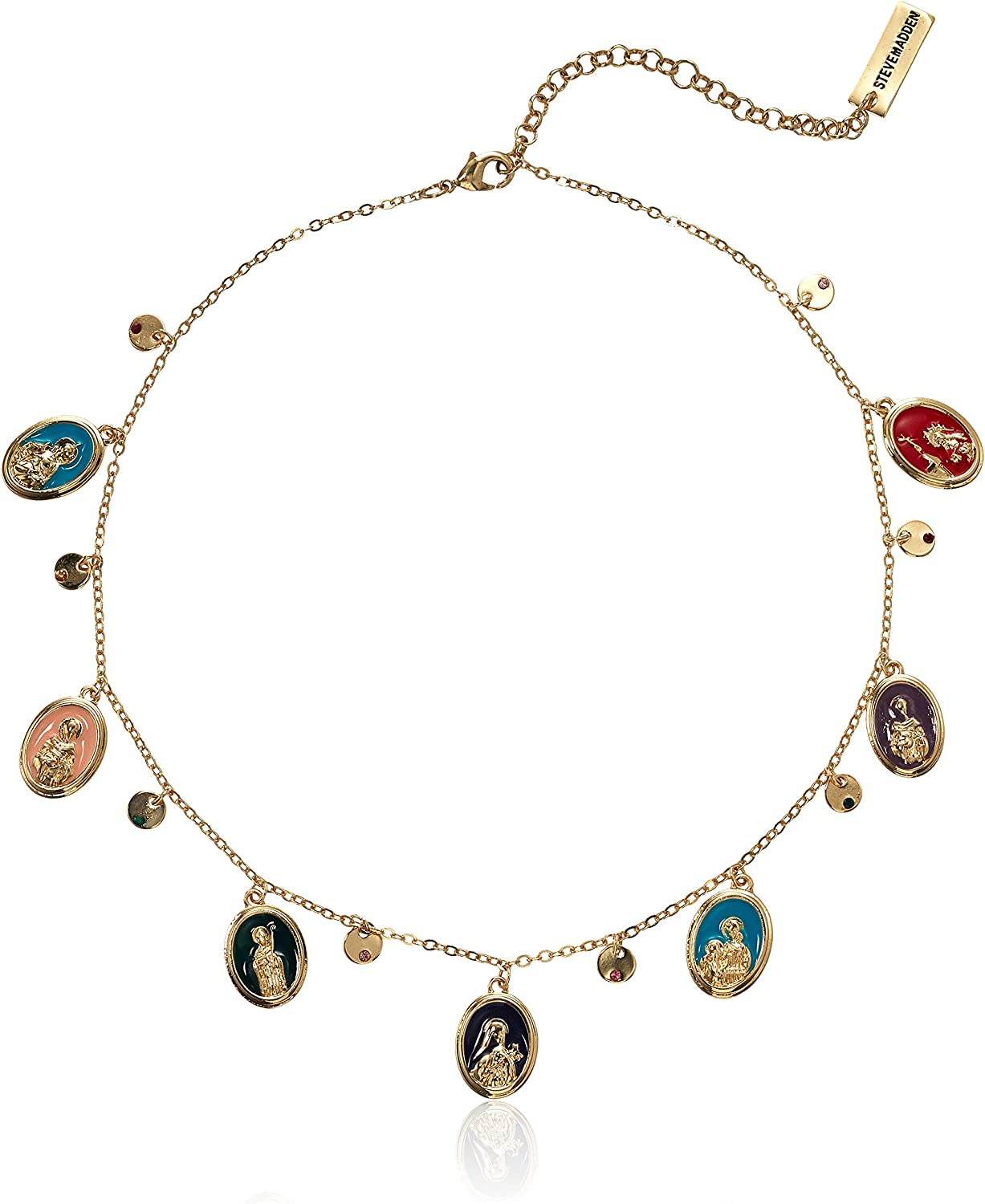 Steve Madden Women's Religious Virgin Mary and Saints and Disc Statement Charm Necklace
