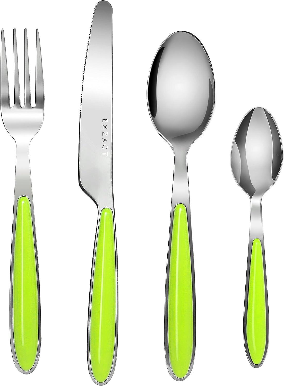 Exzact cuberter/ía Acero Inoxidable con Asas de Color 4 x cucharaditas EX07-16 pcs 4 x Cena tenedors Azul x 16 4 x Cuchillos 4 x cucharas Cena