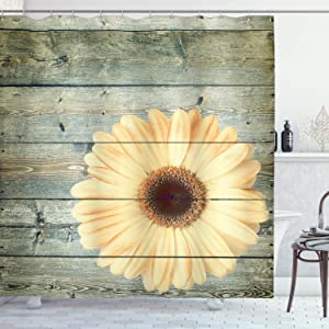Lunarable Floral Shower Curtain, Rustic Wooden Planks with Sunflower Floral Oak Tree Daisy Gerbera Country, Cloth Fabric Bathroom Decor Set with Hooks, 75