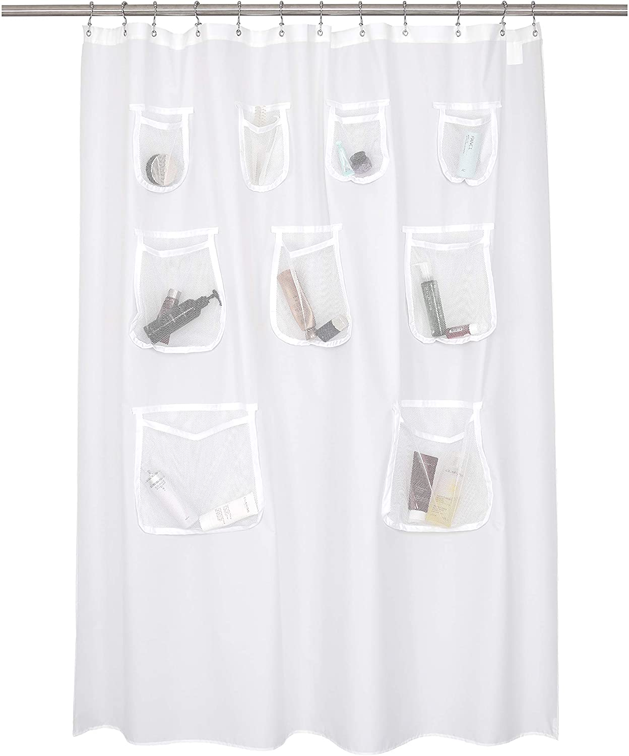 N&Y HOME Waterproof Fabric Shower Curtain or Liner with 9 Mesh Pockets - White, 71x72 Inches