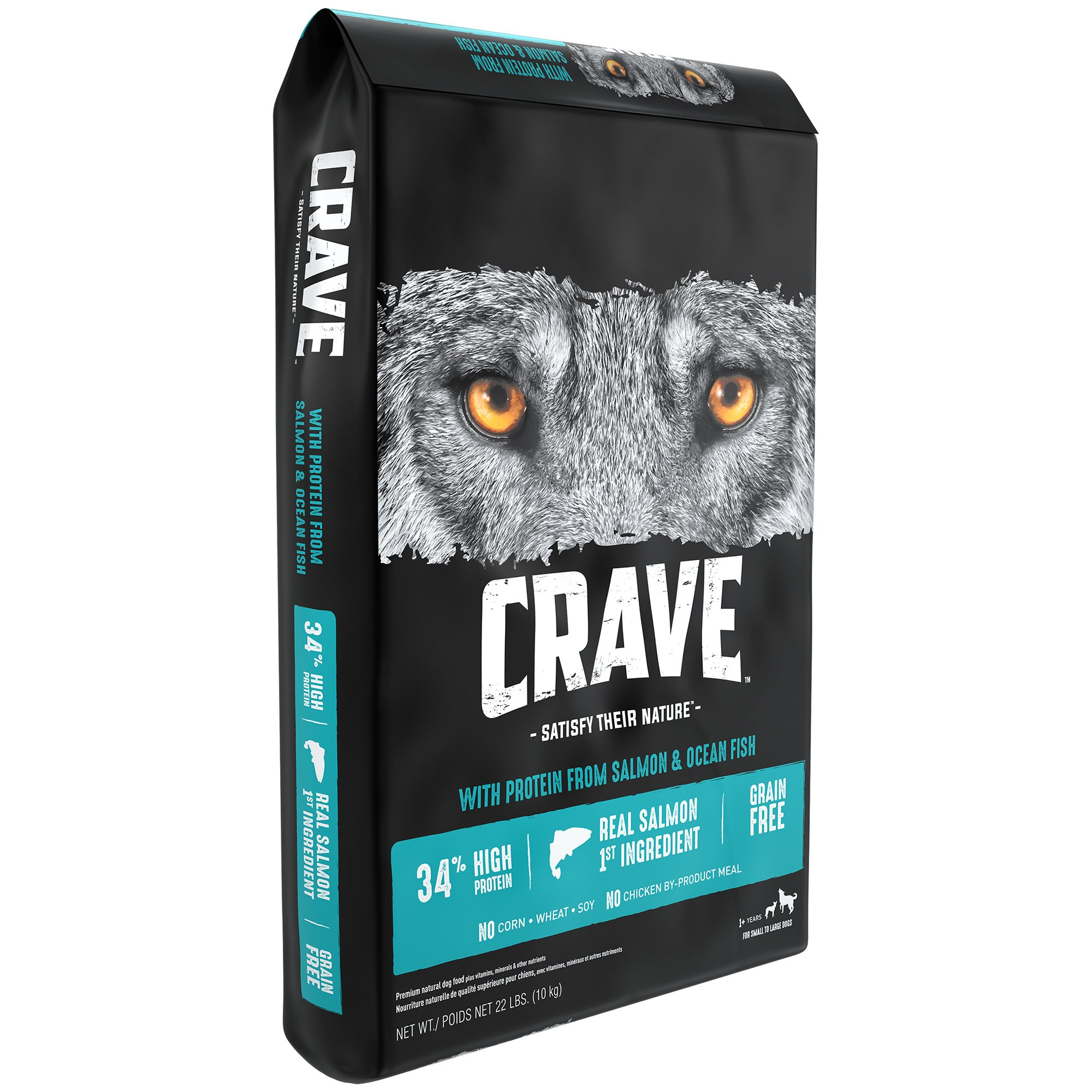 CRAVE Grain Free with Protein from Salmon and Ocean Fish Dry Adult Dog Food, 22 Pound Bag by Crave