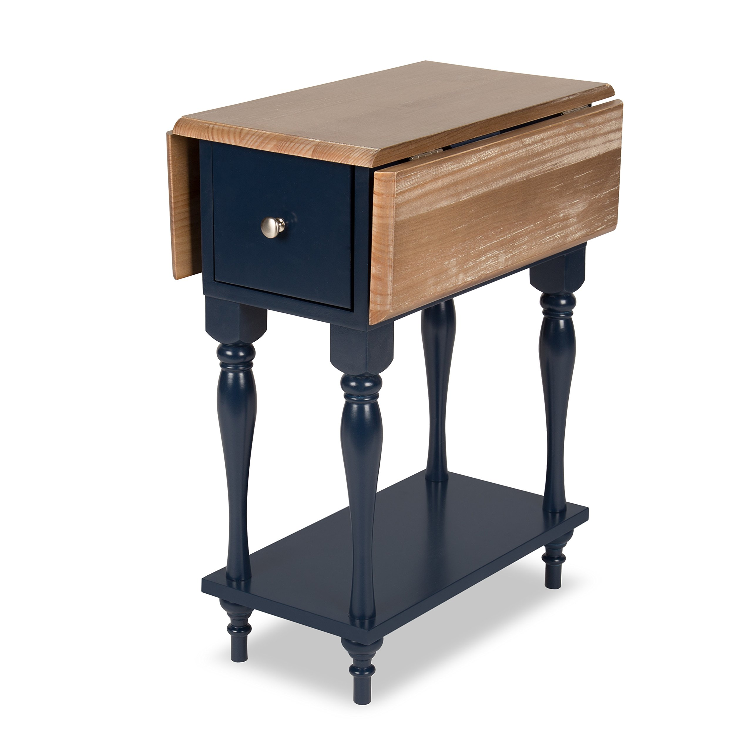 Kate and Laurel Sophia Rustic Wood Top Drop Leaf End Table with 2 Drawers and a Shelf, Navy Blue by Kate and Laurel