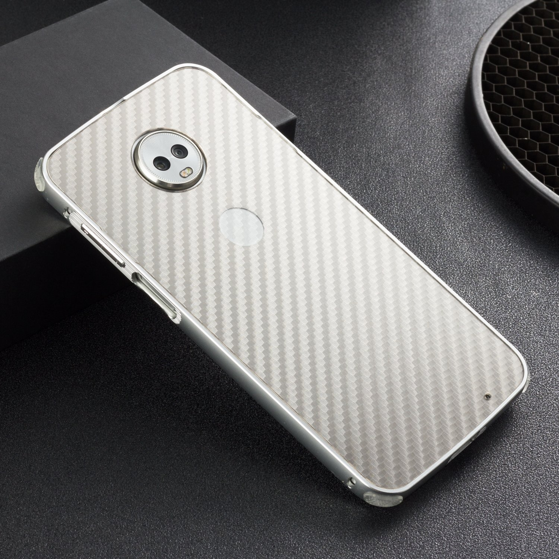 SPAK Motorola Moto Z3 Play Funda,Calidad Aluminio Parachoques Negro Fibra de Carbono Trasera Carcasa para Motorola Moto Z3 Play