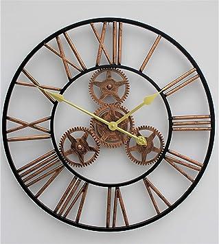 Grande al aire libre jardín pared reloj Big números romanos gigante Open Face Metal 58 cm