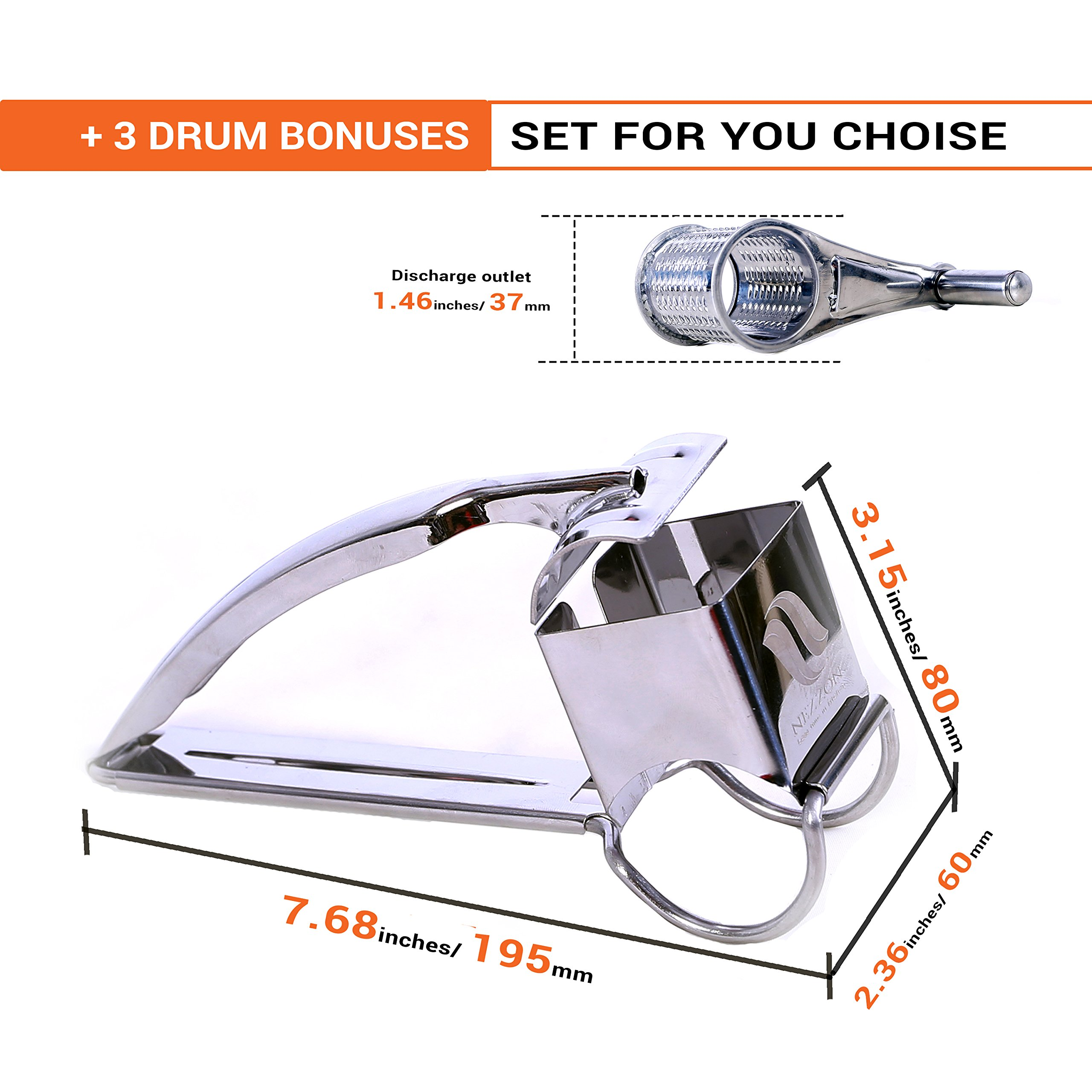 Rotary Cheese Grater Slicer Shredder with 3 Stainless Steel Drums for Soft and Hard Cheese, Chocolate, Nuts, Vegetables, Fruits. With a FREE 101 Tips and Techniques for Cooking Like a Chef E-book