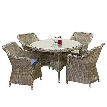 OSeasons Hampton Salon de jardin en rotin Table ronde avec 4 ...