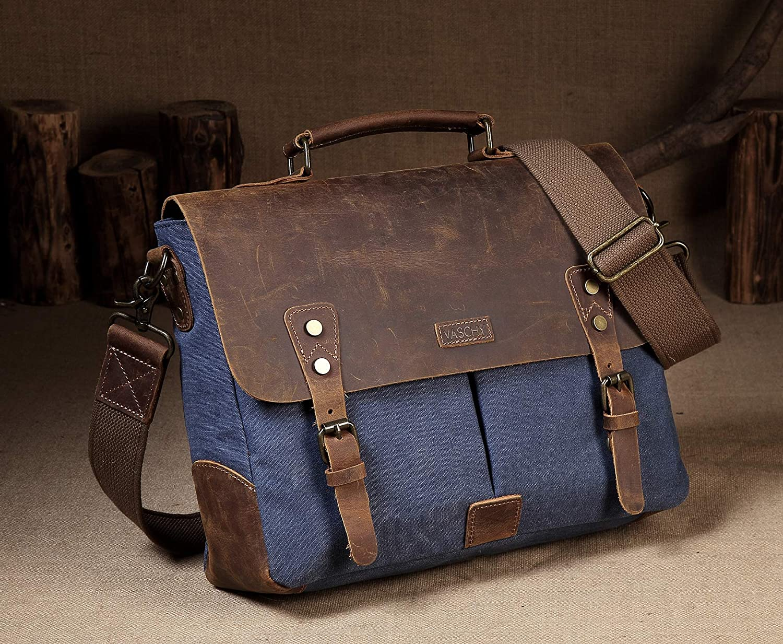 Umhängetasche Herren, Herren, Herren, VASCHY Vintage Echtes Leder Segeltuch Aktentasche passt 14 Zoll Laptop Schultertasche Unisex Kuriertasche mit Abnehmbarem Gurt Grau B071CF99WH Messenger-Bags 68126a