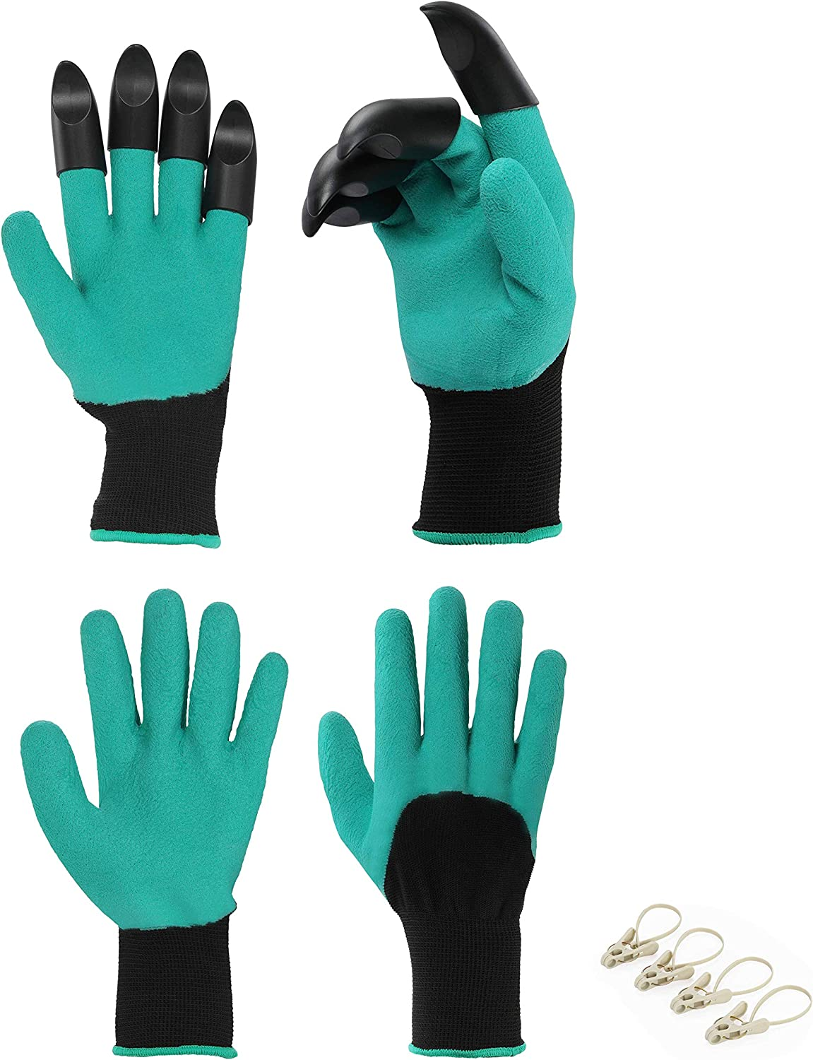 Planting Gloves For Easy Digging, 2 Pairs Breathable Garden Gloves With Fingertips Claw (Claw 1 Pair+ Non Claw 1 Pair) Plus 4 Clips - Best Gardening Gifts for Women and Men