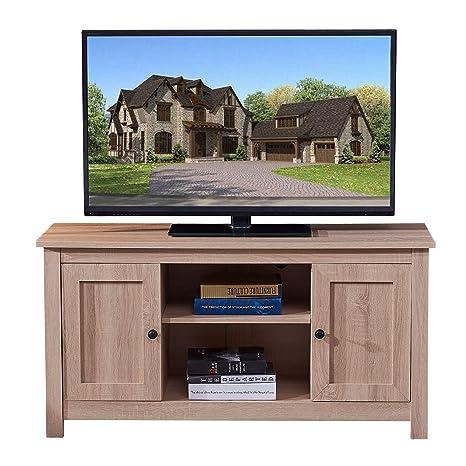 Amazon.com: Soporte de madera para TV con diseño brillante y ...