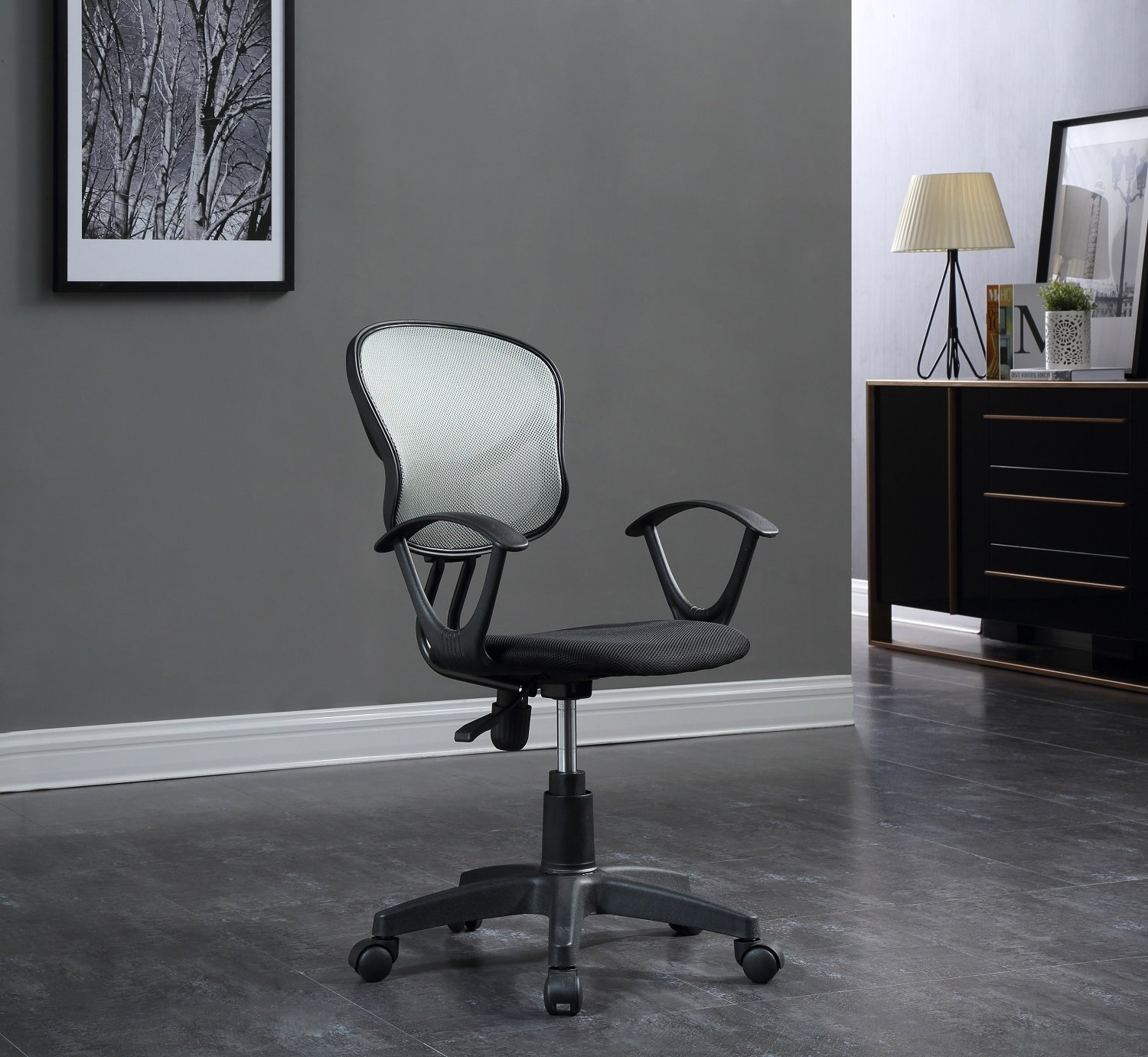 Hodedah Mesh Office Chair with Arms, Adjustable Height, and Swivel Functionality, Grey by HODEDAH IMPORT (Image #5)