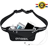 """Fanny Pack, Arteesol Waterproof Waist Pack Bounce Free 5.5"""" Running Belt Phone Pouch for Sports Workout Hiking Fitness Fits iPhone X 6 6s 7 8 plus iPod, Samsung Galaxy and Other Phones (Black)"""