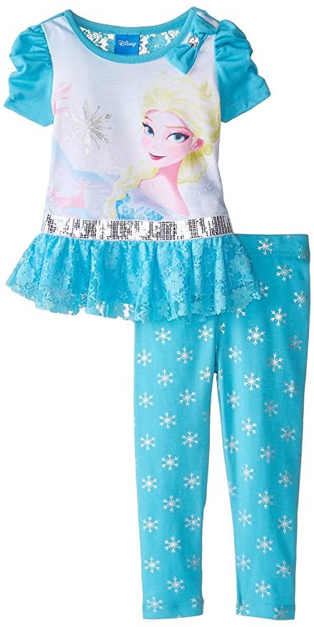 Frozen Frozen ANN & Elsa Túnica Vestido Outfit Top + Leggings Pantalones Turquesa Azul Turquesa Talla