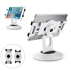 "AboveTEK Retail Kiosk iPad Stand, 360° Rotating Commercial Tablet Stand, 6-13.5"" iPad Mini Pro Business Tablet Holder, Swivel Design for Store POS Office Showcase Reception Kitchen Desktop (White)"