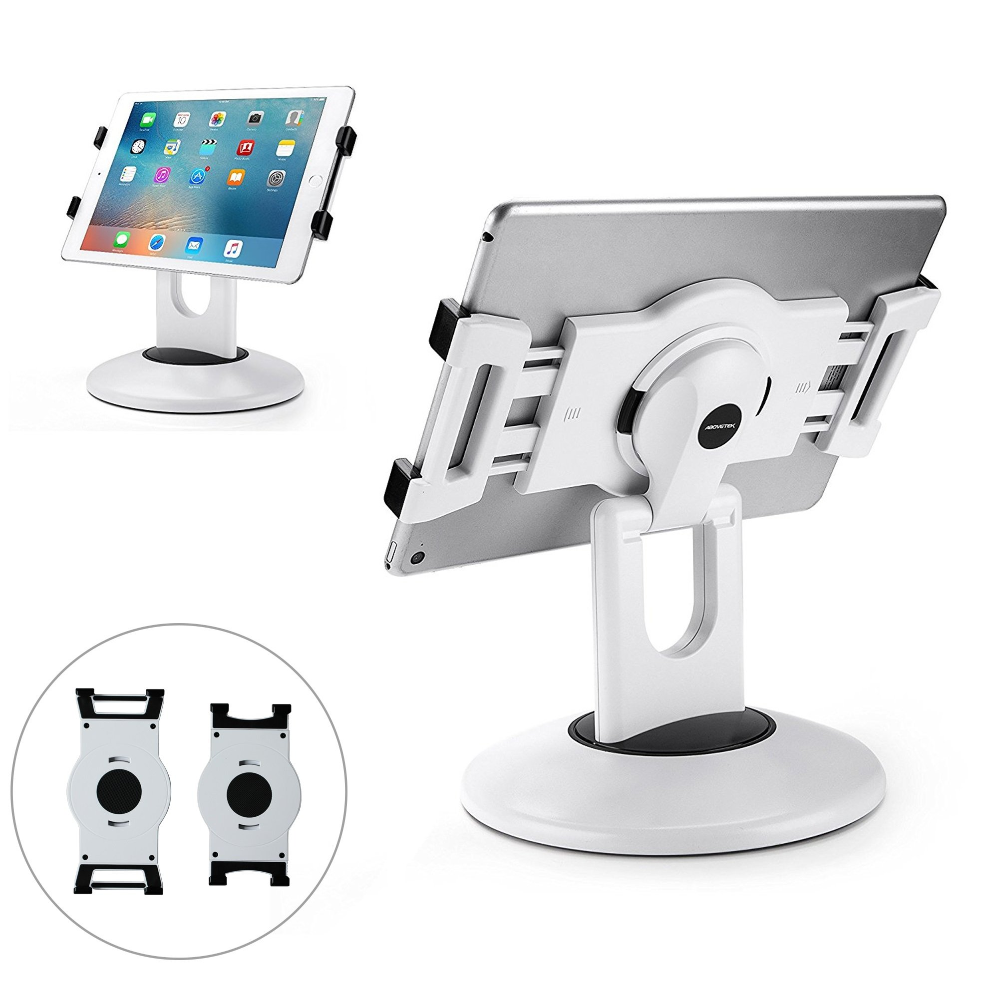 AboveTEK Retail Kiosk iPad Stand, 360° Rotating Commercial Tablet Stand, 6-13.5'' iPad Mini Pro Business Tablet Holder, Swivel Design for Store POS Office Showcase Reception Kitchen Desktop (White)