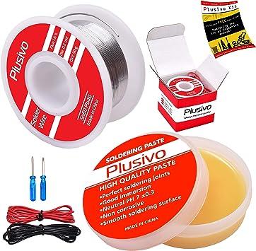 Amazon Com Kit De Flujo De Pasta De Resina Y Alambre De Soldadura 60 40 Alambre De Soldadura De Nucleo De Resina 0 024 In 1 76 Oz Y Flujo De Pasta De Colofonia 1 76 Oz
