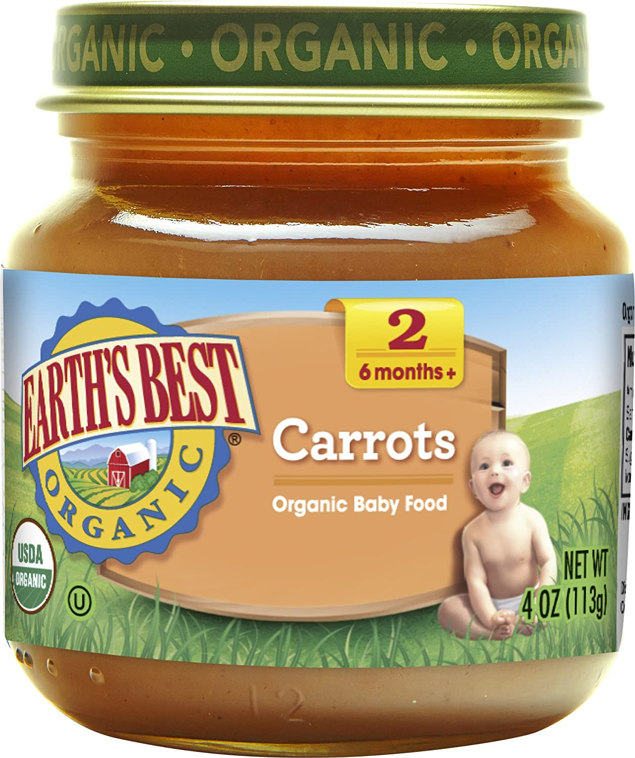 Earth's Best Organic Stage 2 Baby Food, Carrots, 4 oz. Jars