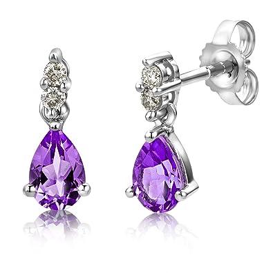 Miore Ladies 9ct White Gold Pear shape Amethyst Bezel Earrings MG9245E QYheqYHLz