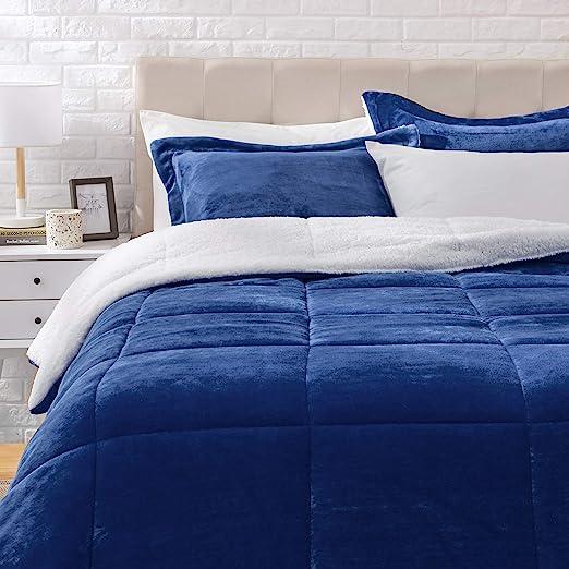 Amazon Basics Ultra-Soft Micromink Sherpa Comforter Bed Set - Navy, King
