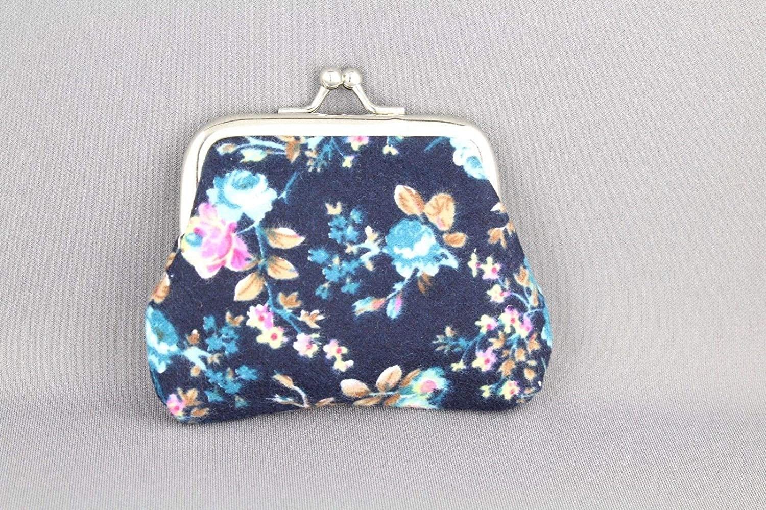Navy Blue floral flower coin change purse