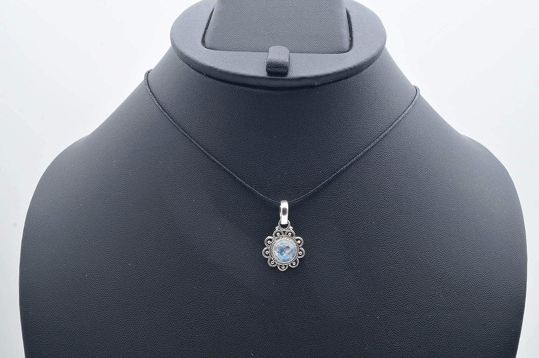 Kettenanhänger Medaillon Silber 925 Sterlingsilber Regenbogen Mondstein weiß Stein 14 mm x 24 mm (MAH 66) mantraroma