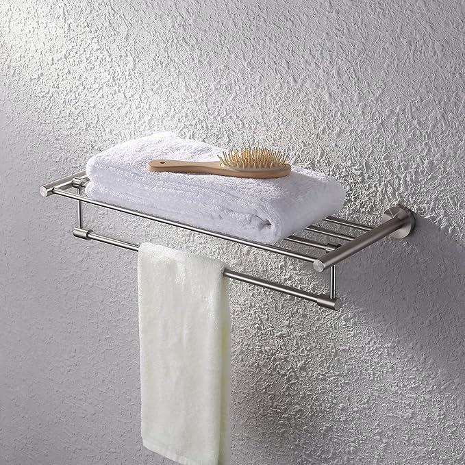 ordinary Hotel Style Towel Rack Brushed Nickel Finish Part - 18: Amazon.com: Kes Bath Towel Rack with Towel Bar 24-Inch SUS 304 Stainless  Steel Bathroom Storage Organizer Shelf RUSTPROOF Wall Mount Brushed Finish:  Home u0026 ...