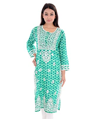 Acc Tunic Top Lucknow Chikan Hand Embroidery Indian Kurti For Women