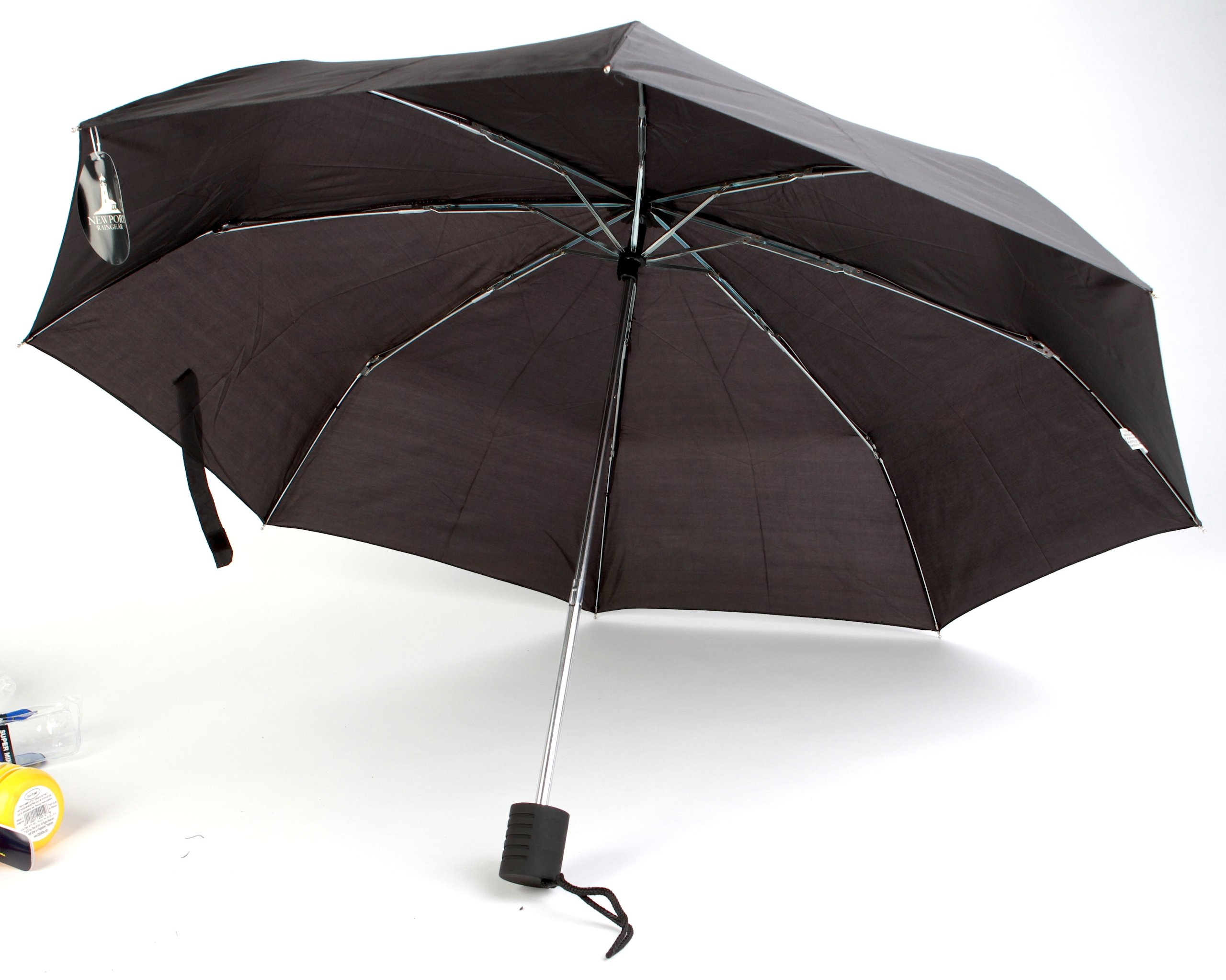 The Weather Station 42-Inch Auto Open Compact Folding Umbrella, Black - Pack of 24