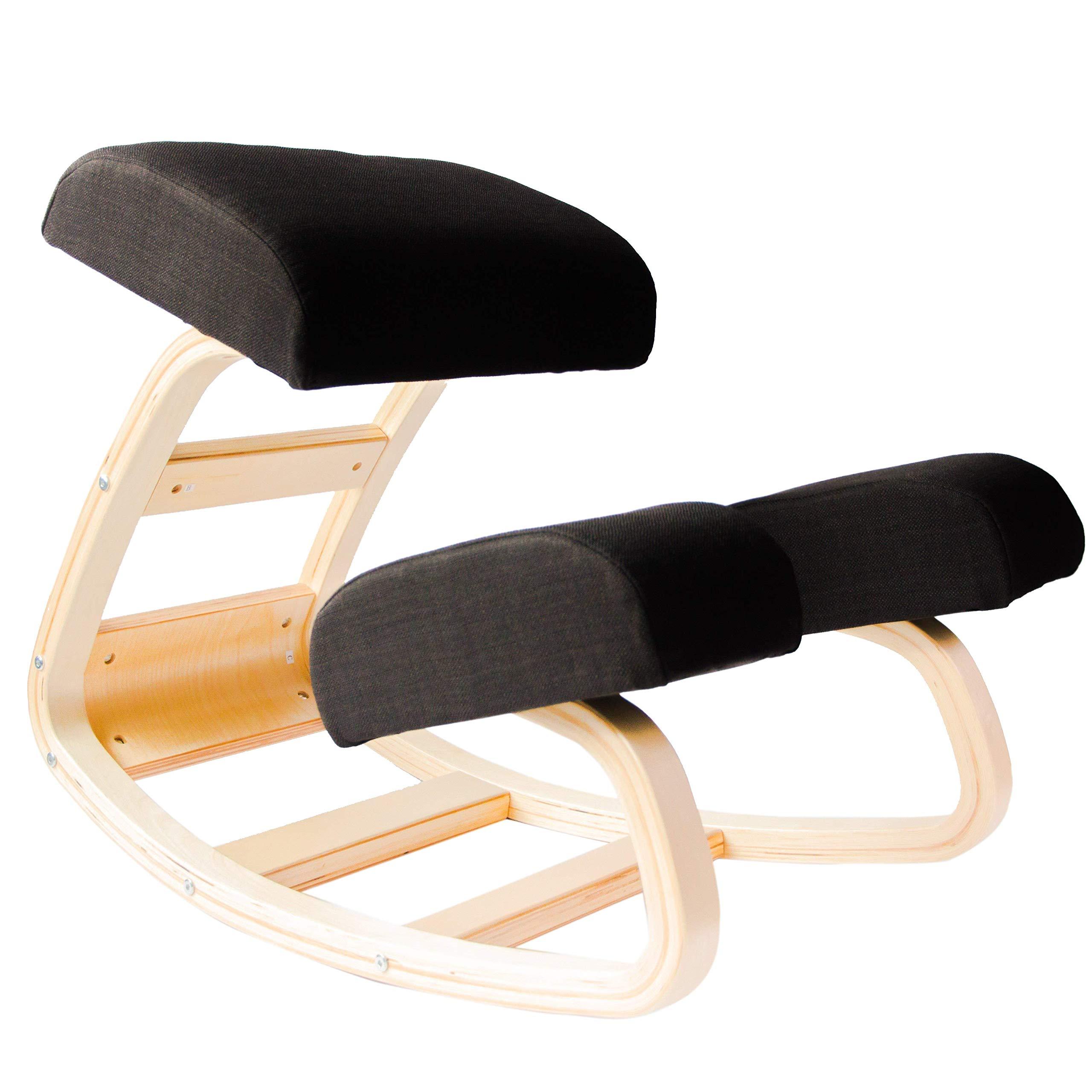 Sleekform Kneeling Chair | Rocking Ergonomic Wood Knee Stool for Office & Home | Posture Correcting for Bad Backs, Neck Pain, Spine Tension Relief | Orthopedic Balance Seat & Thick Knees Cushions by Sleekform