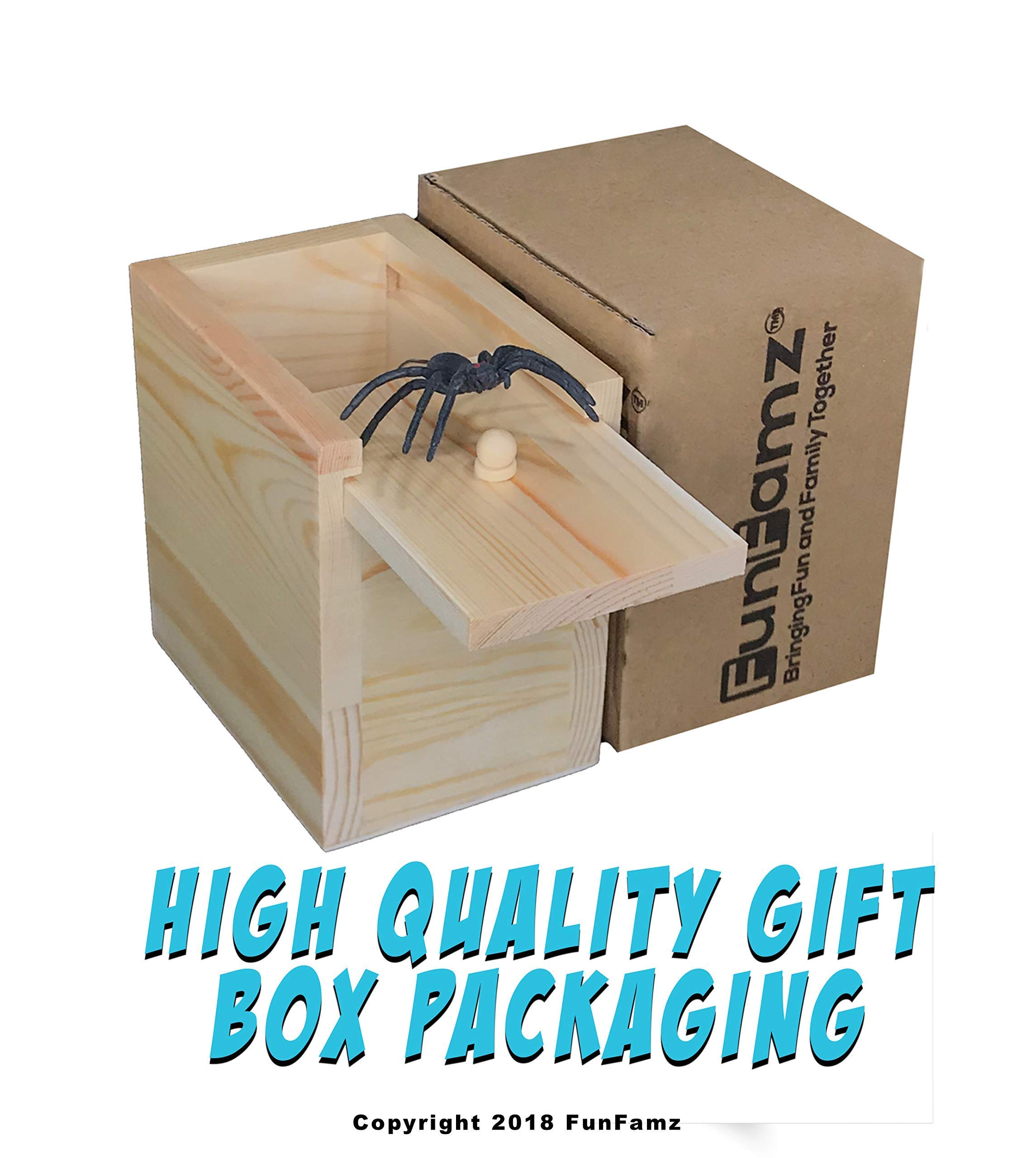 The Original Spider Prank Box- Hilarious Wooden Box Toy Prank, Funny Money Gift Box Surprise Toy, and Christmas Gag Gift Prank for Boys, Girls, Adults by FunFamz by FunFamz (Image #5)