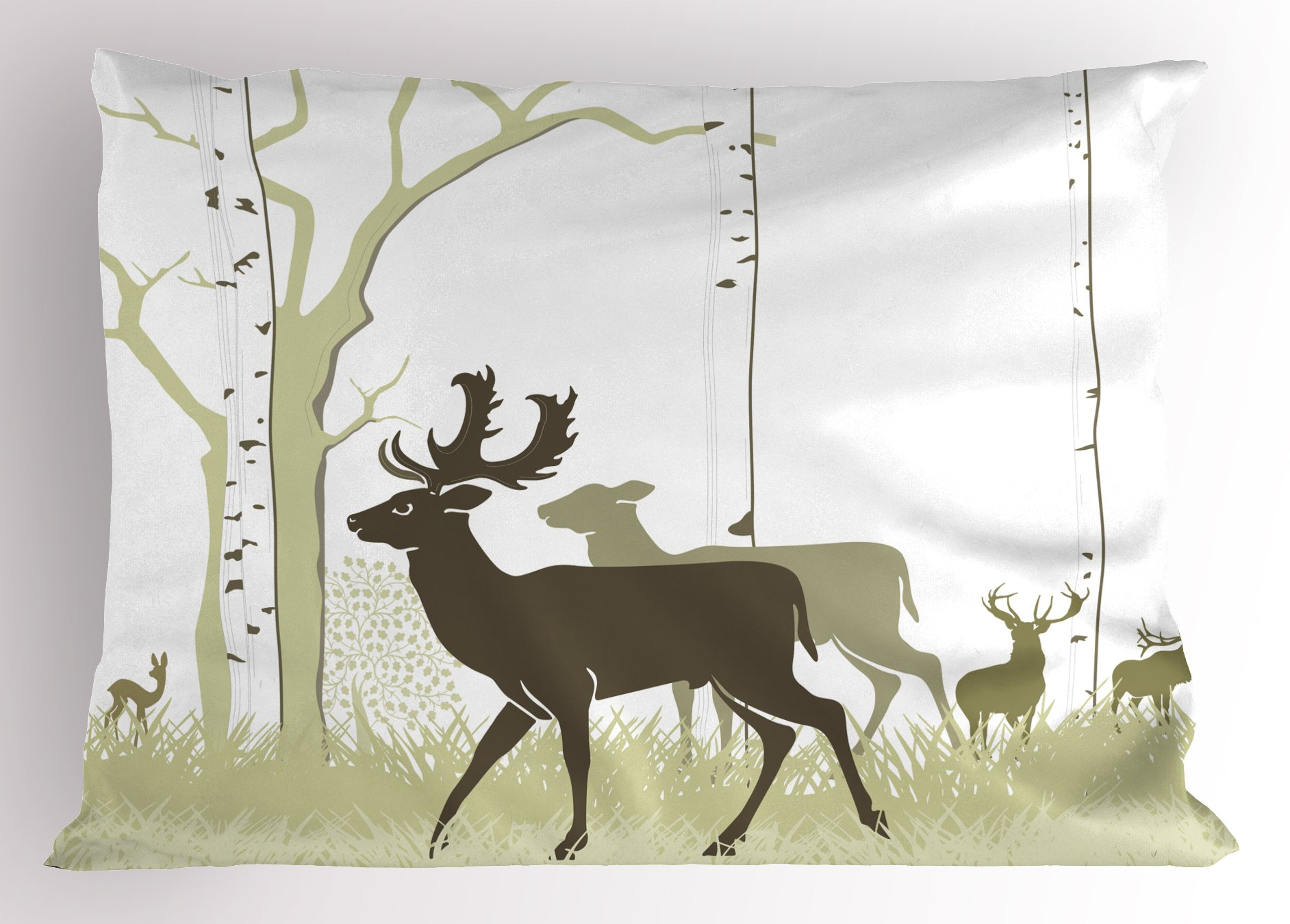 Lunarable Woodland Pillow Sham, Abstract Watercolor Fallow Deer and Red Deer Roaming Through The Woods Antlers, Decorative Standard Size Printed Pillowcase, 26 X 20 inches, Sepia Beige