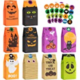 Halloween Treats Bags Party Favors - 50 Pcs Kids Halloween Candy Bags for Trick or Treating + 60 Pcs Halloween Stickers…