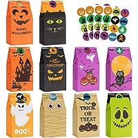 Halloween Treats Bags Party Favors - 50 Pcs Kids Halloween Candy Bags for Trick or Treating + 60 Pcs Halloween Stickers…