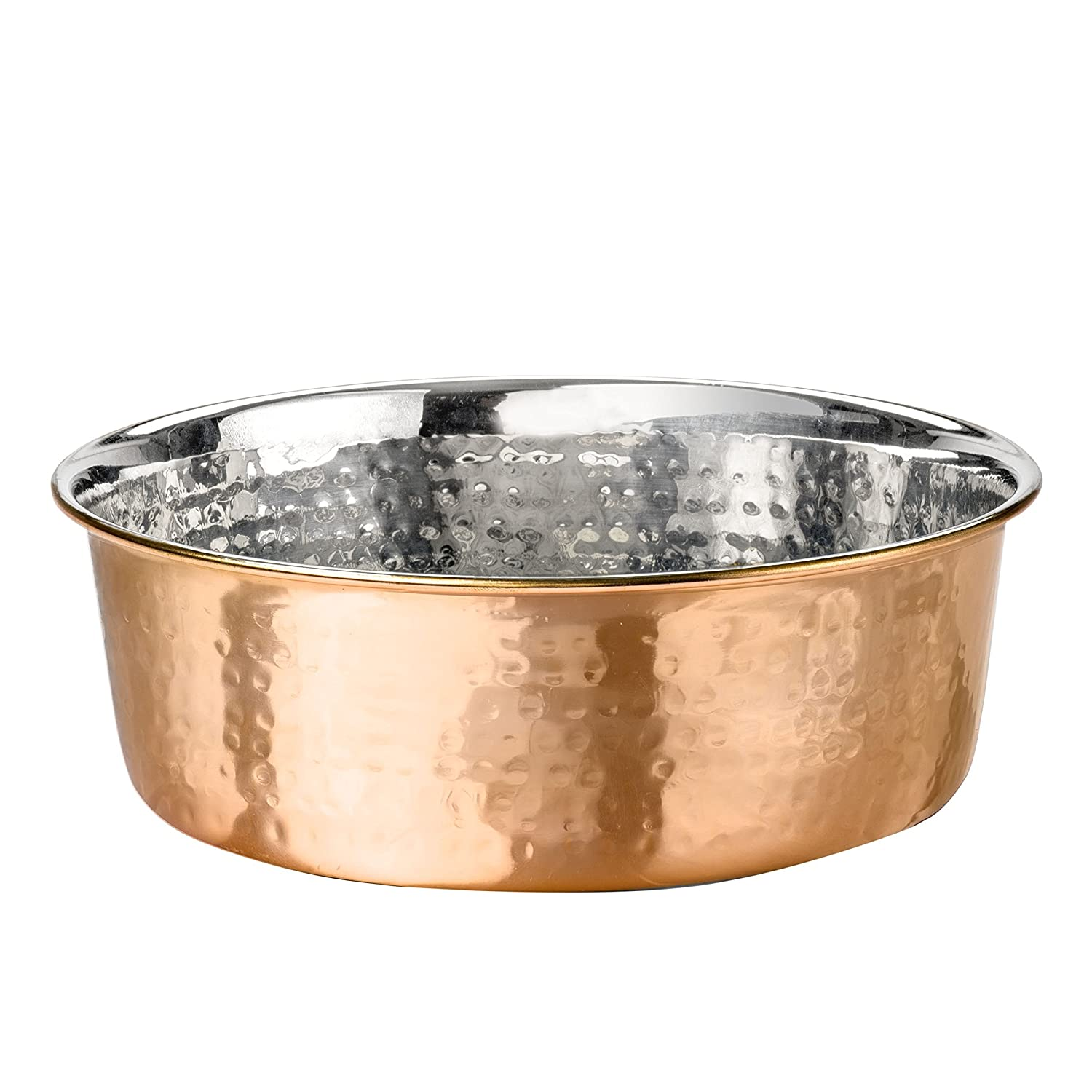 Large Copper Neater Pet Brands Hammered Copper Finish Pet Bowls Deluxe Luxury Style Dog and Cat Dish (Large)