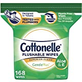 Cottonelle GentlePlus Flushable Wipes with Aloe & Vitamin E, Refill, 168 Total Wet Wipes