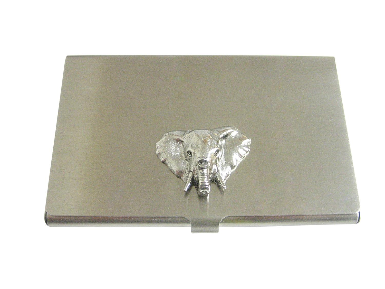 Silver Toned Textured Elephant Headビジネスカードホルダー   B06XVD21H7