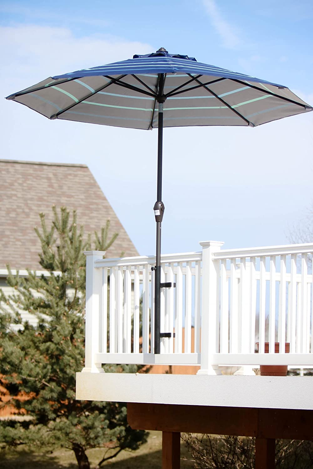 Patio Umbrella Holder Outdoor Umbrella Base and Mount Attaches to Railing Maximizing Patio Space and Shade Black