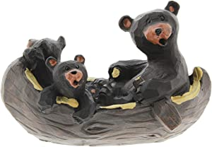The Bridge Collection Canoeing Black Bear Family Figurine