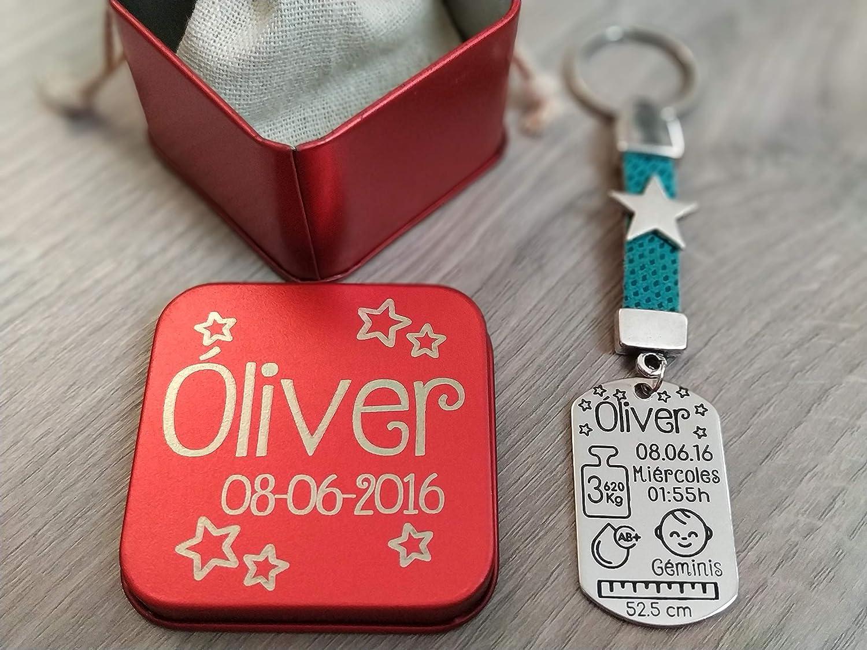 Llavero natalicio personalizado con cajita incluida.: Amazon.es: Handmade