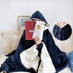 JS HOME Thicken Fleece Wearable Hoodie Blanket Throw for Women, Lightweight Super Soft Cozy Luxury Sherpa Fleece Wearable Plush Throw Blanket, Office Blanket, Navy Blue, 50