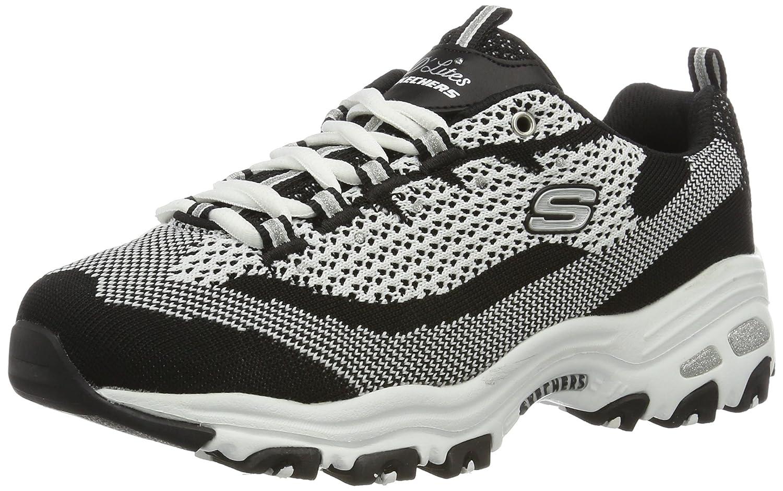 Skechers Women's Sport D'Lites Reinvention Sneaker B01IG5HYEA 6.5 B(M) US|Black/White Knit