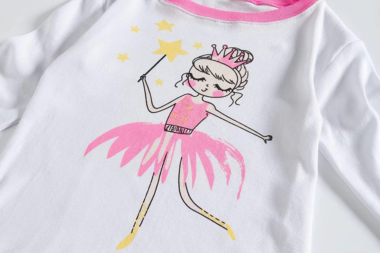 Little Kids Toddler Girls Long Sleeve Cotton pajamas Sets 2-7 Years