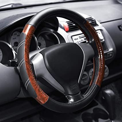 How To Unlock Steering Wheel >> Elantrip Wood Grain Steering Wheel Cover Leather 14 5 To 15 Inches Anti Slip Universal For Car Truck Suv Jeep