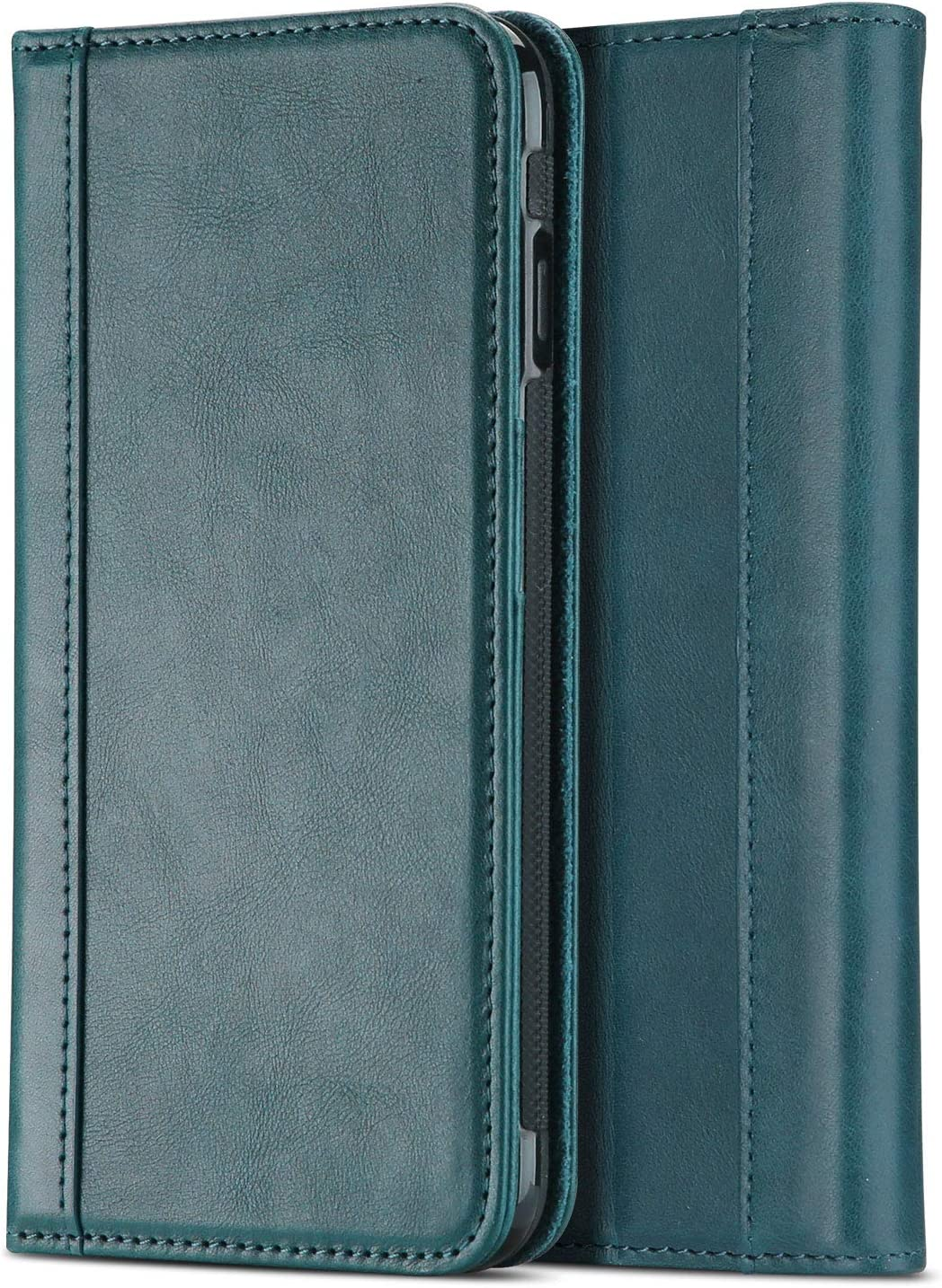 ProCase iPhone 8 Plus 7 Plus Genuine Leather Case, Wallet Folding Flip Case with Kickstand Card Slots Magnetic Closure Protective Cover for Apple iPhone 8 Plus/iPhone 7 Plus -Teal