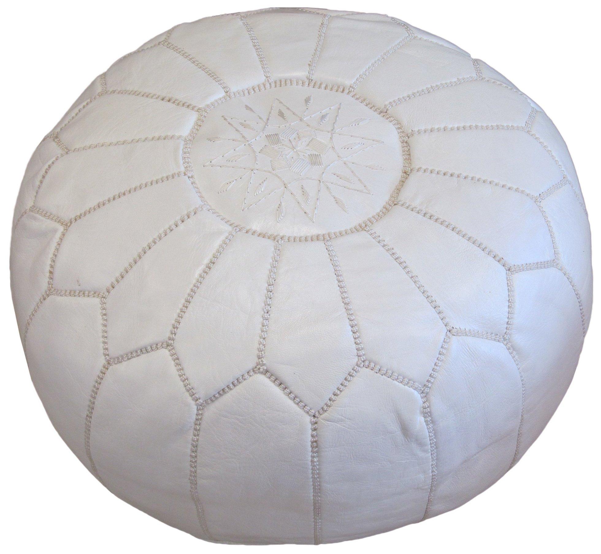 Stuffed Moroccan Pouf, Pouffe, Ottoman, Poof, Color : White
