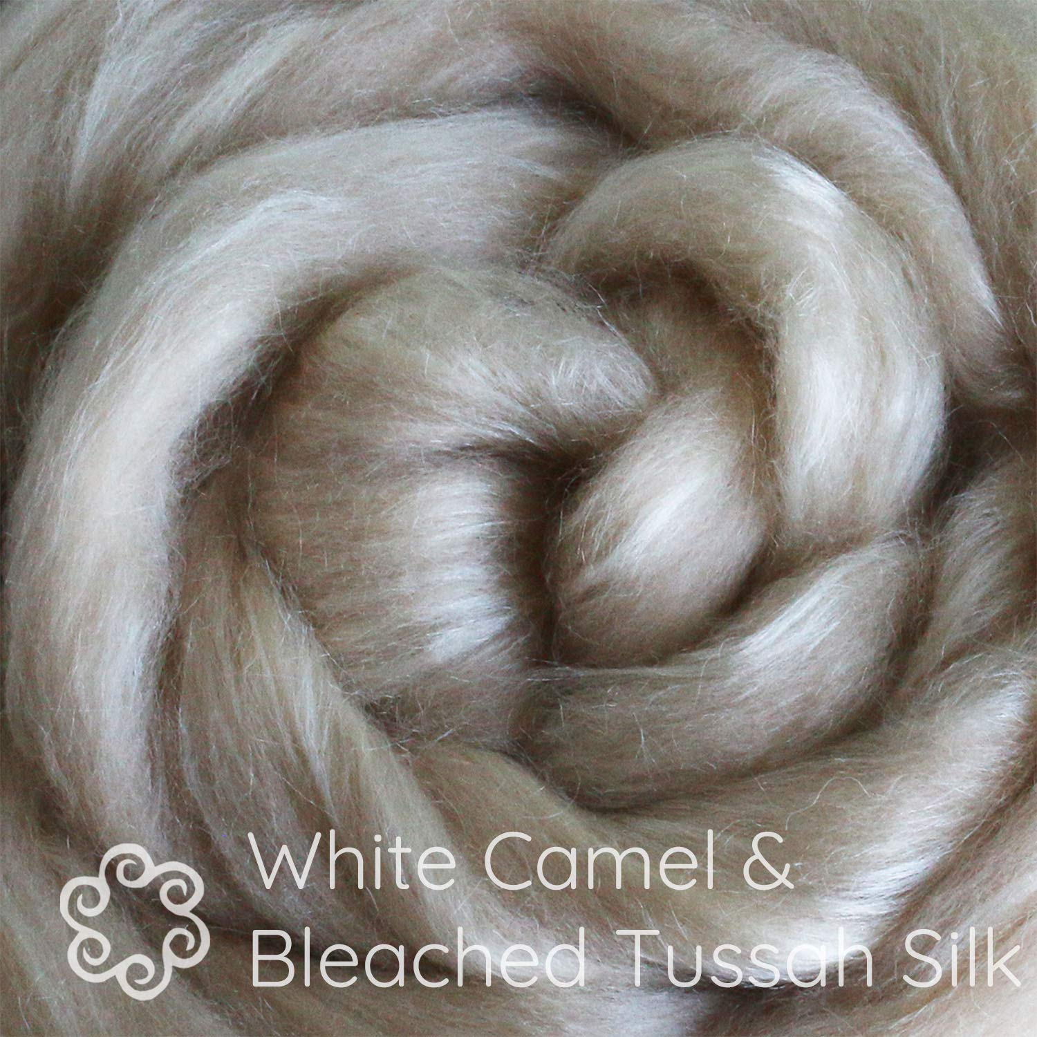 Luxuriously Soft Combed Top Wool Roving for Blending White Baby Camel /& TUSSAH Silk Fiber Blend Spinning /& Felting Dyeing