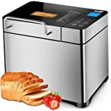 KBS 17-in-1 Programmable Bread Machine, 2LB Stainless Steel Bread Maker with Fruit Nut Dispenser, Nonstick Ceramic Pan& Digit
