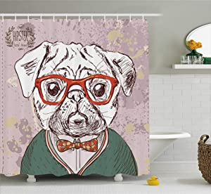 Ambesonne Dog Lover Decor Shower Curtain Set, Vintage Illustration of Old Hipster Pug Dog with Red Glasses and Bow Master of Professor, Bathroom Accessories, 69W X 70L Inches, Multi